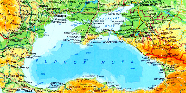 Картинка черное море на карте