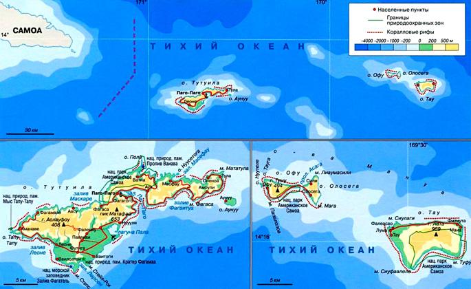 Американское Самоа на карте