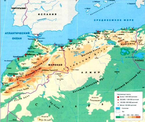 атлас горы на карте