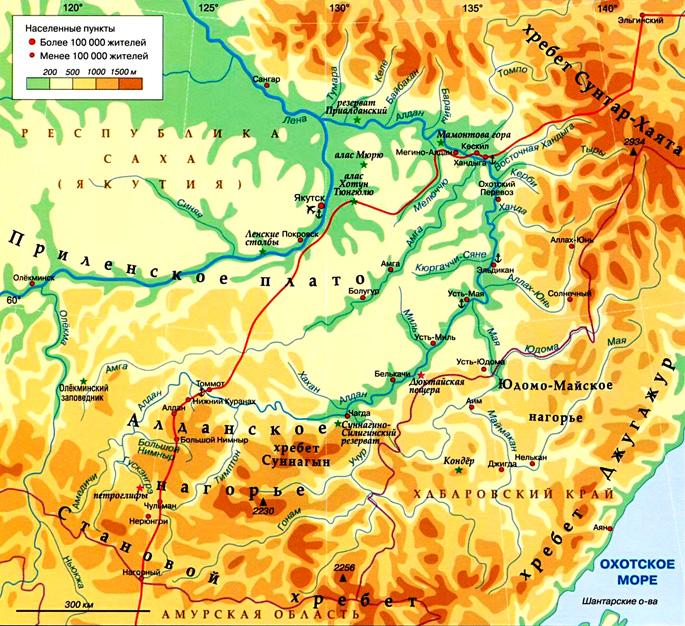 Река Алдан на карте