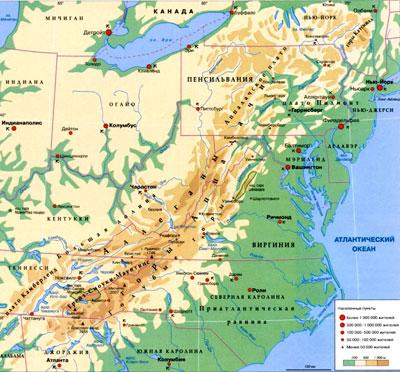 Горы Аппалачи на географической карте Северной Америки.