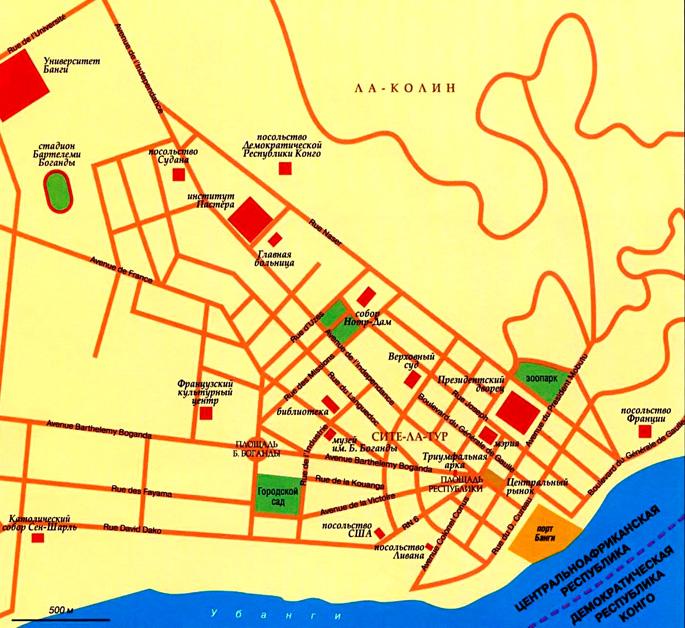 Карта города Банги