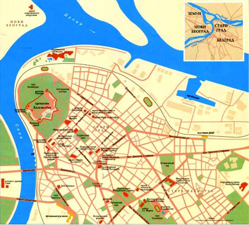 Город Белград на топографической карте.
