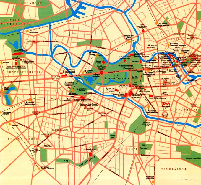 Карта схема улиц города Берлин, Германия.
