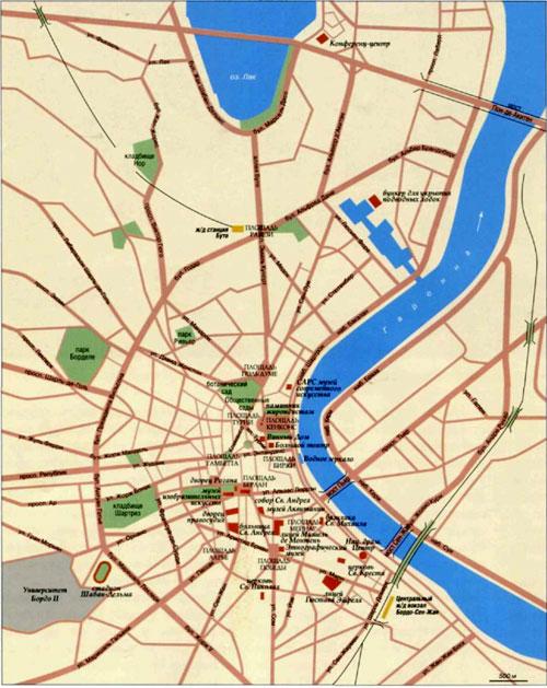 Город Бордо на топографической карте, Франция.