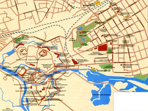 Брест на топографической карте, Белоруссия.