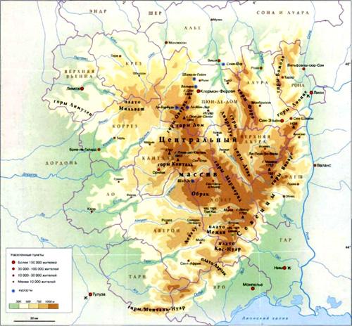 Центральный Массив на карте, Франция.