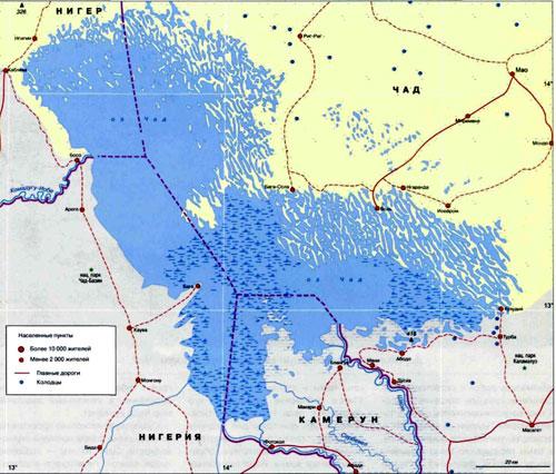 Озеро Чад, географическая карта, Центральная Африка