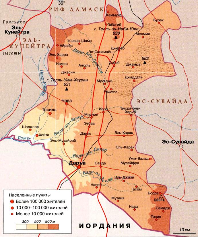 Мухафаза Даръа на карте