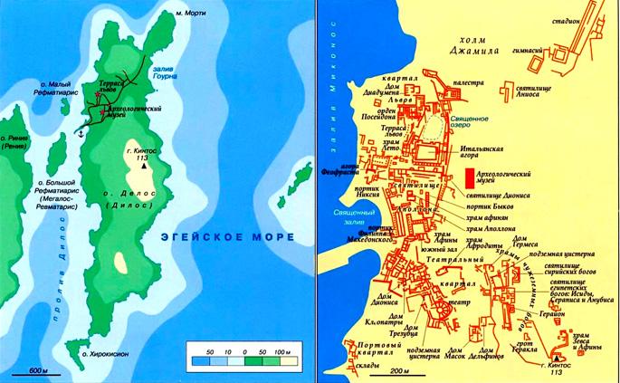 Остров Делос на карте