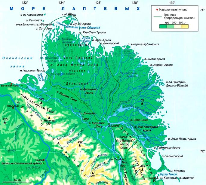Дельта Лены на карте
