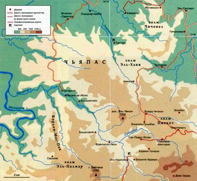 Вулкан Эль-Чичон на географической карте, Мексика, Северная Америка.