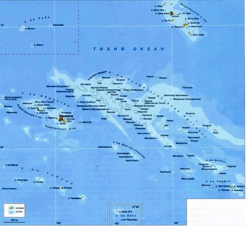 Французская Полинезия на географической карте, Тихий океан.