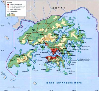Гонконг (Сянган) на географической карте, Китай, Азия.
