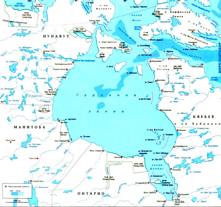 Гудзонов залив на карте