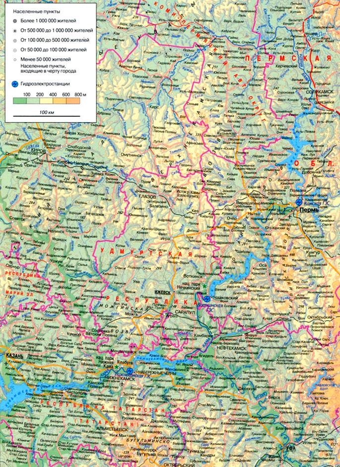 Река Кама на карте