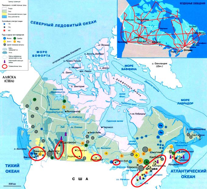 Канада на географической карте, Северная Америка.