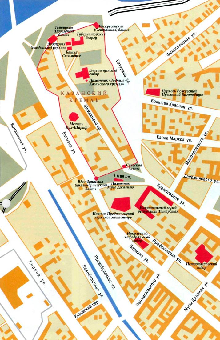 Город Казань на топографической карте, Татарстан, Россия.