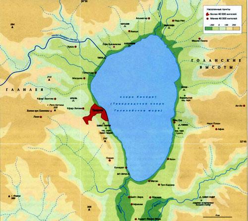 Озеро Кинерет, географическая карта, Израиль