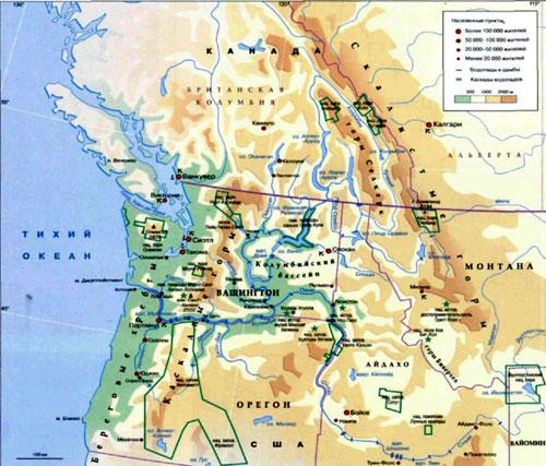 Река Колумбия, географическая карта, Река в Северной Америке