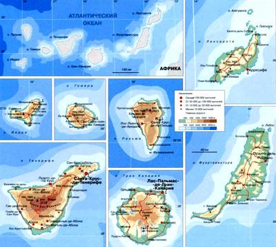 Канарские острова на географической карте, Атлантический океан.