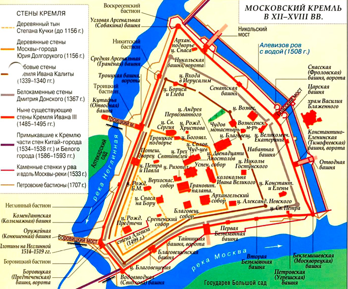 Московский Кремль в XII-XVIII веке на карте