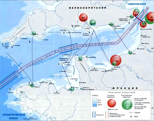 Ла-Манш на географической карте, Европа.