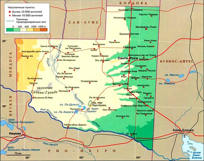Провинция Ла-Пампа на карте