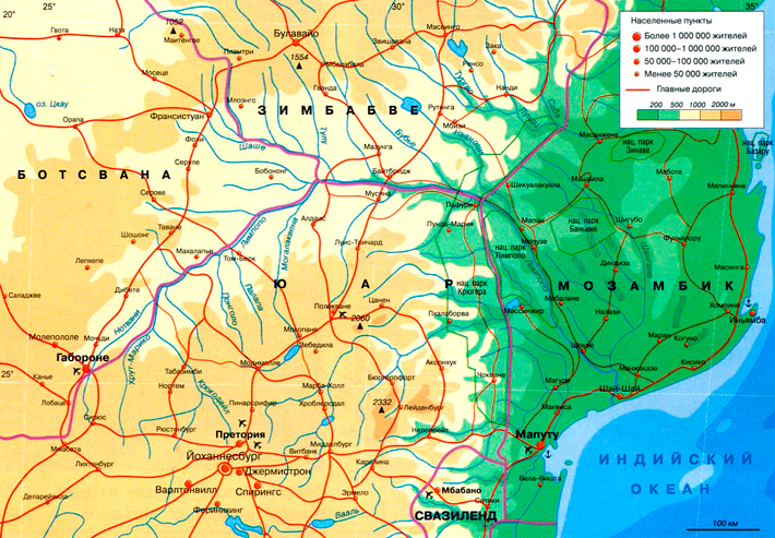 Река лимпопо на карте