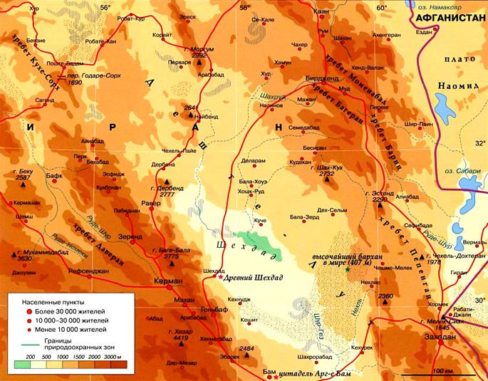 Пустыня Деште-Лут на карте