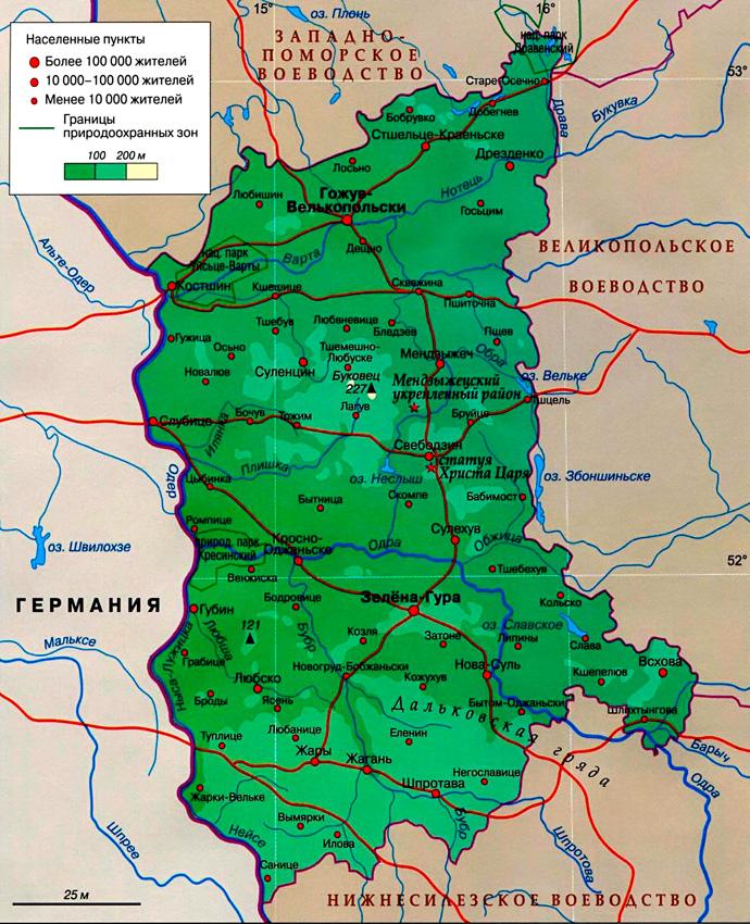 Любуское воеводство на карте