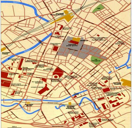 Город Манчестер, топографическая карта.