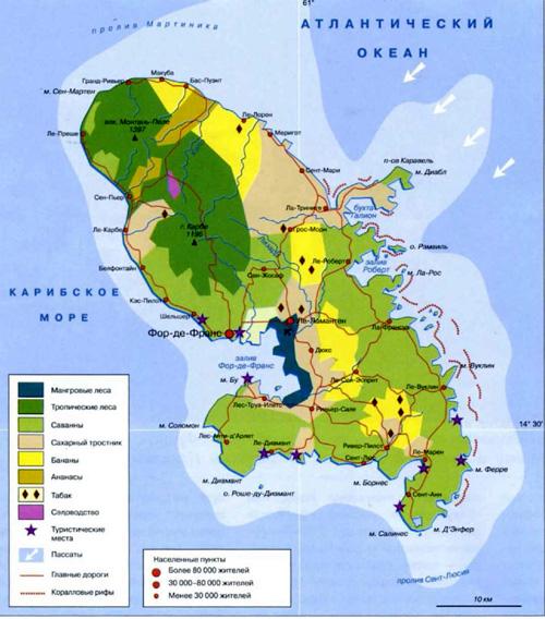 Мартиника. Географическая карта