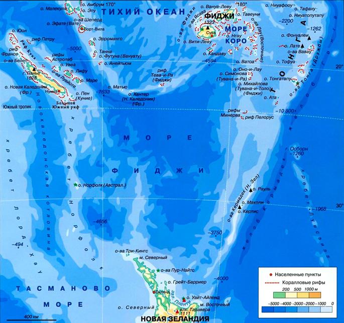 Море Фиджи на карте