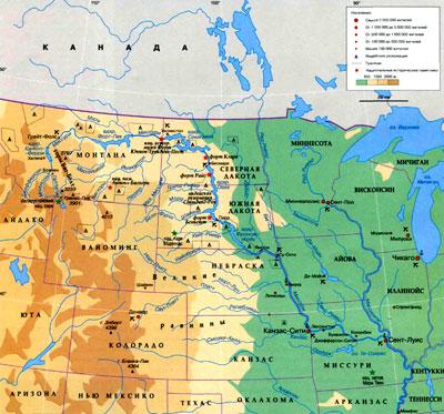 Бассейн реки Миссури на географической карте, Северная Америка.