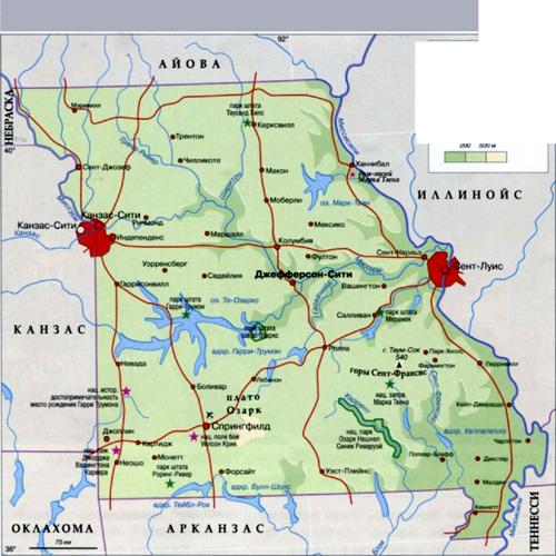 Карта штата Мисури