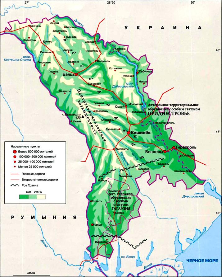 Молдавия на географической карте.