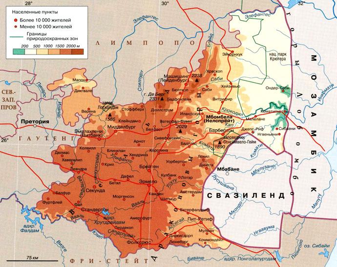 Провинция Мпумаланга на карте
