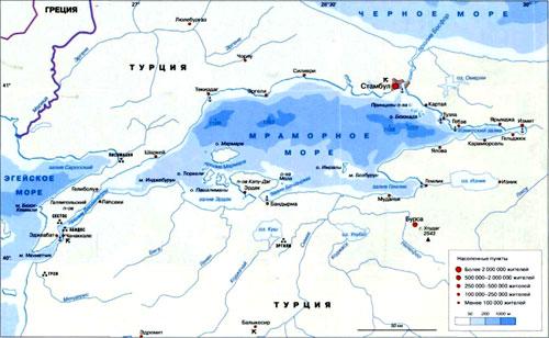 Мраморное море на географической карте, Турция.