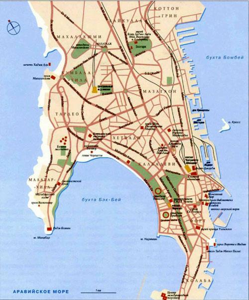 Мумбаи - Бомбей на топографической карте, Индия.