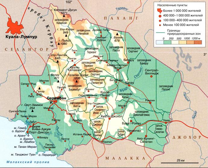 штат Негри-Сембилан на карте
