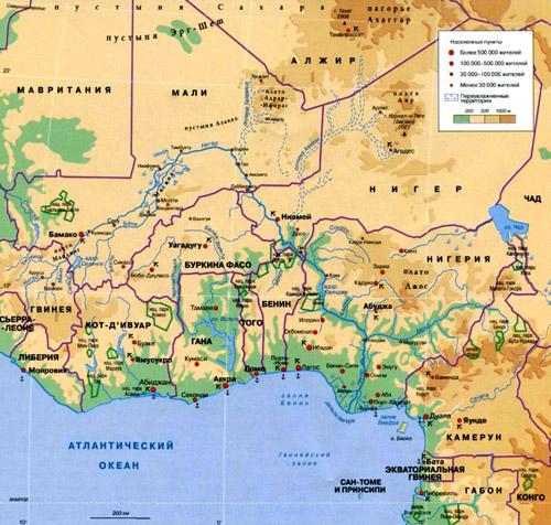 Река Нигер на географической карте, Африка.