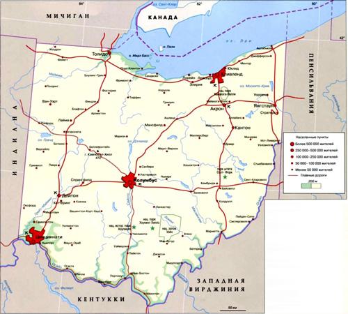 Огайо на карте, США.