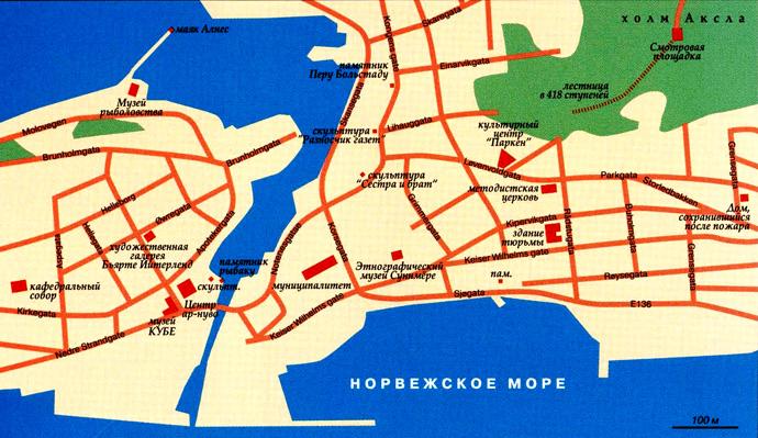 карта города Олесунн