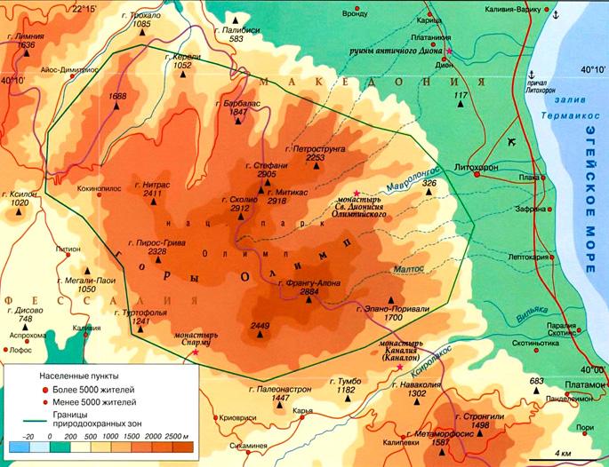 Горы Олимп на карте
