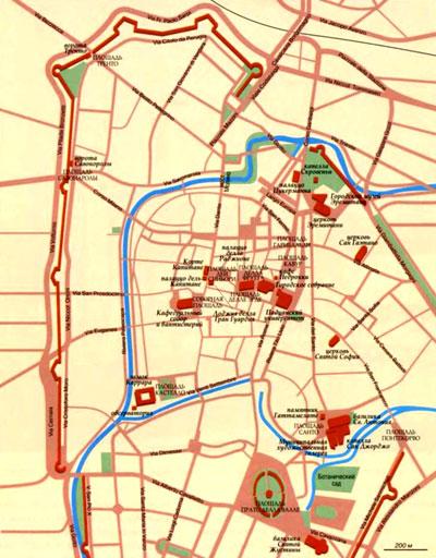 Город Падуя на топографической карте, провинция Венето, Италия.