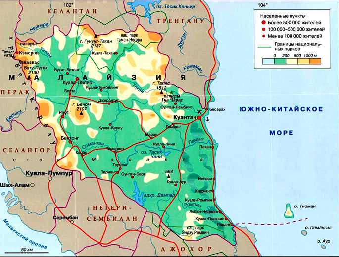 Штат Паханг на карте