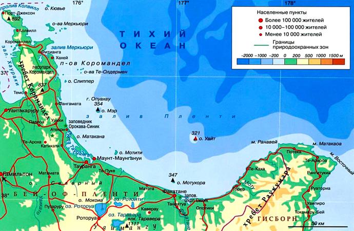 Залив Пленти на карте