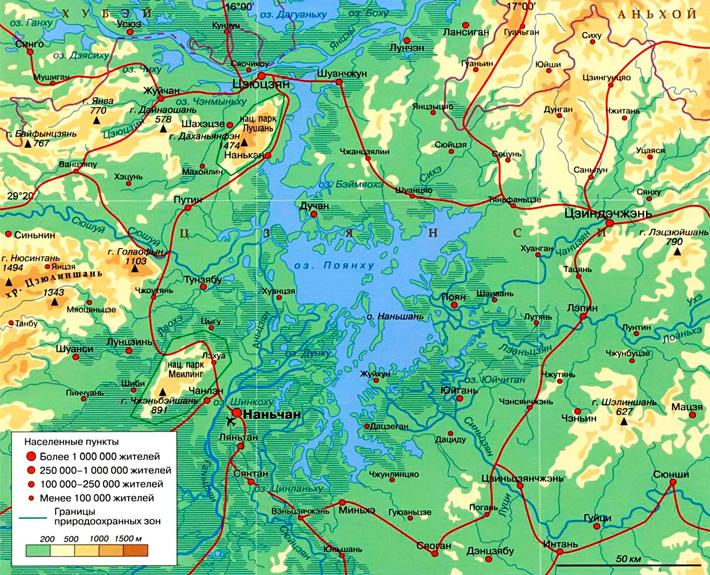 Озеро Поянху на карте