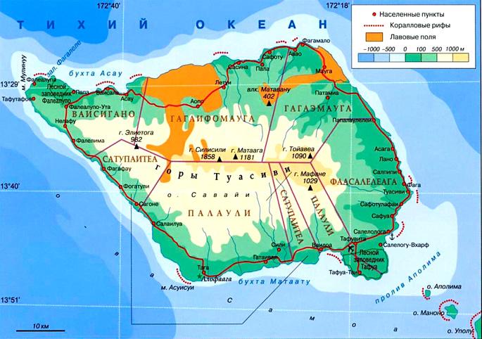 Остров Савайи на карте